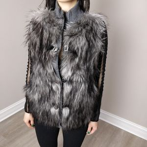 Calvin Klein Faux fur front knit back vest